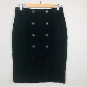 Ann Taylor Button Front Black Knit Pencil Skirt